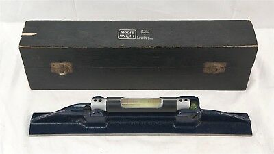"Moore & Wright ELM 300mm 12"" Blue Cast Iron Engineers Precision Level With Case"