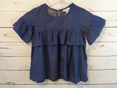 Cat & Jack Girls' Short Sleeve Ruffle Woven Denim Top - Blue - Size S (6/6X)