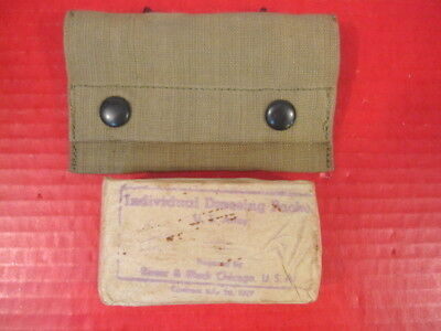 WWI US Army M1910 Medical First Aid Kit Pouch w/Bauer Paper Bandage - Dated 1917