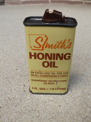 Vintage 4 oz Smith's Honing Oil Tin Can 1/3 Full