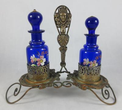 VICTORIAN Cobalt Blue HP Glass PERFUME BOTTLES in ORNATE METAL STAND with FACES