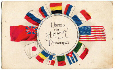 1917 United For Humanity And Democracy National Flags Wwi Vintage Postcard