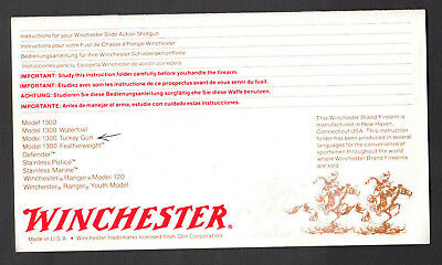Winchester Firearms - Model 1300 Turkey Gun - Instruction Manual - 14 Pages