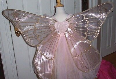 Pottery Barn Kids Fairy Pink Halloween Costume Gold Wings Girls Size 4-6, EC