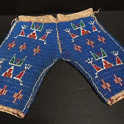 Excellent Late19th-Early 20thC Sioux Fully Sinew Beaded Child's Pants,Provenance