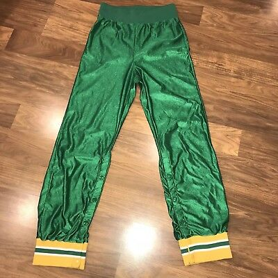 Vtg 70s 80s Shiny Green WILSON Basketball WarmUp Mens SMALL Track Suit pants S