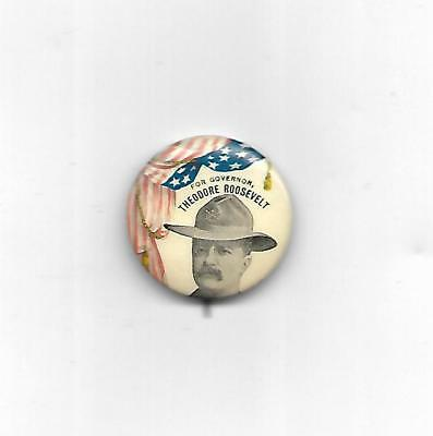 1898 1 1/4 InchTheodore Roosevelt For New York Governor Pin With Rough Rider Hat