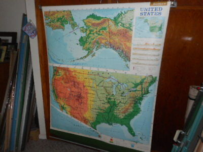 Large Pull Down  Map of USA Old School Canvas Backed Great Shape