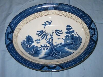 vintage beautiful blue ironstone bowl made in occupied japan