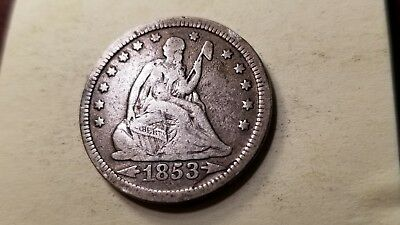 1853 Rays & Arrows Seated Liberty Silver Quarter