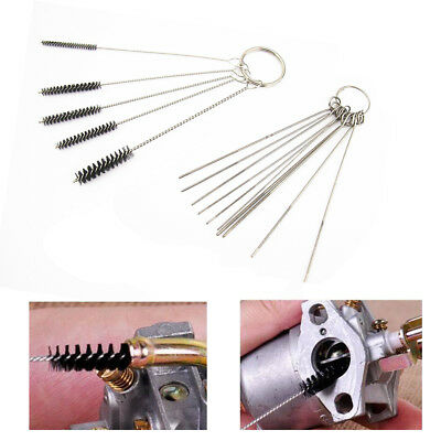10pcs Needles+5pcs Brushes Carburetor Carbon Dirt Jet Remove Cleaning Tools Hot