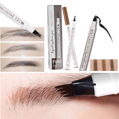 HOT Waterproof Microblading Tattoo Eyebrow Pencil Fork tip Ink Sketch Pen 4 Head
