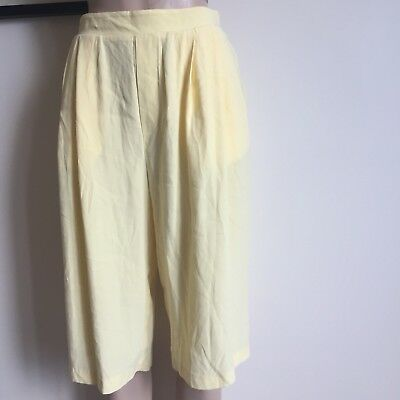 Vintage Lemon Yellow High Waisted Culottes Size 10/12 Pastel Cute 1990s