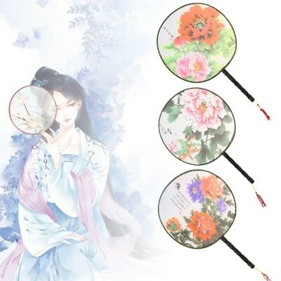 Wood Handle Vintage Chinese Palace Round Hand Fan Print Wedding Party Dance Gift
