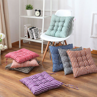 New Seat Pad Dining Room Garden Kitchen Chair Cushions Tie On Plain or Gingham