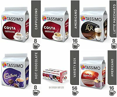 Tassimo Coffee Hot Chocolate Variety Box Bundle Capsules T-Discs Pods 56 Drinks