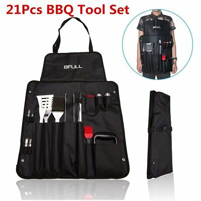 1bd2b61bcfd 21Pcs Stainless Steel BBQ Utensils Grill Tools Kit SET With 2-in-1 Storage