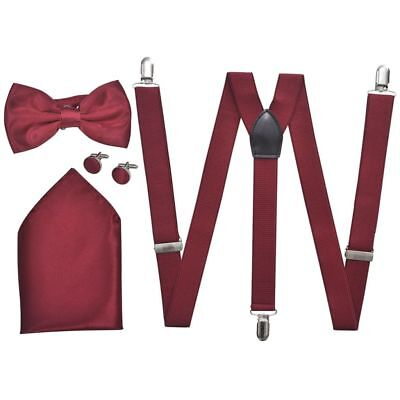 vidaXL Set elegante accessori smoking uomo bretelle papillon rosso bordeaux☺