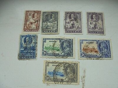 Nigeria 8 stamps KGV 5 old head 3 S.Jubilee 1935 all FU