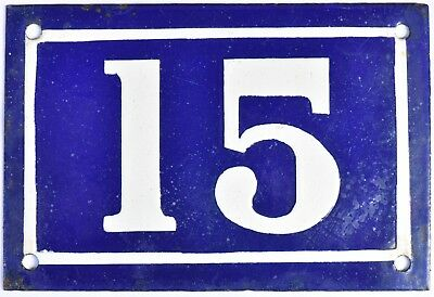 Old blue French house number 15 door gate plate plaque enamel metal sign c1950