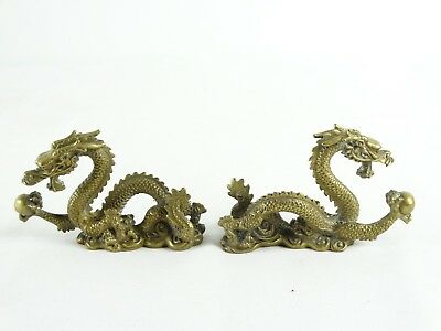 Excellent pair of Antique / Vintage Japanese Brass Dragon Scroll Weights Japan