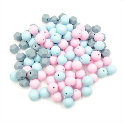 10x Multicolor Silicone Teething Nursing Teether Chewable Beads DIY Necklace BS
