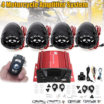 Bluetooth Waterproof 4 Speaker Motorcycle Amplifier System for ATV UTV SCOOTER