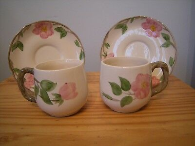 "Two X Vintage Johnson Bros.""franciscan Desert Rose"" Cups & Saucers."
