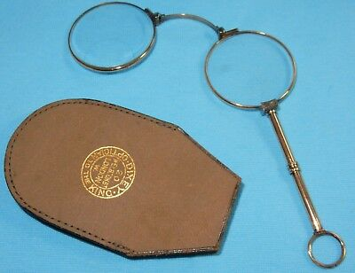 Vintage Pair Of Cased Lorgnettes Glasses Fitted Case Close Reading Lenses Dixey