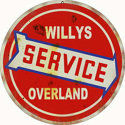 Reproduction Willy's  Service Overland Sign 14 Round