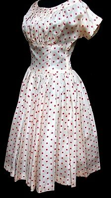 1940s 50s Vintage RED POLKA DOT CIRCLE SKIRT ROCKABILLY SWING LUCY DRESS