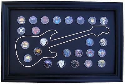 Black Display Frame 12x20 for 25 Guitar Picks (Not Included), Various Designs