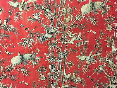 Important 19th Century French Exotic Bird/ Bamboo Cotton Toile Print (2109)