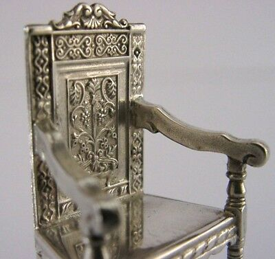 Solid Silver Miniature Wainscot Chair English London 1977 Dolls House