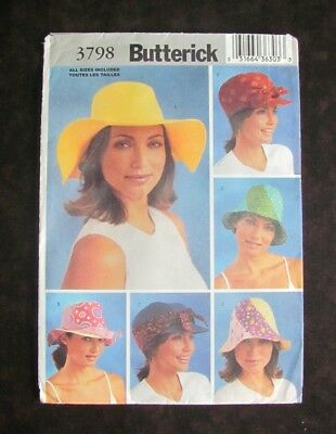 Butterick 3798 Misses Hats 6 Different Styles 3 Sizes Factory Folded Pattern