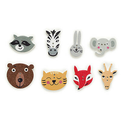 50pcs 2 Hole Mixed Animal Wood Buttons Decor Sewing Scrapbooking Home 15-30mm