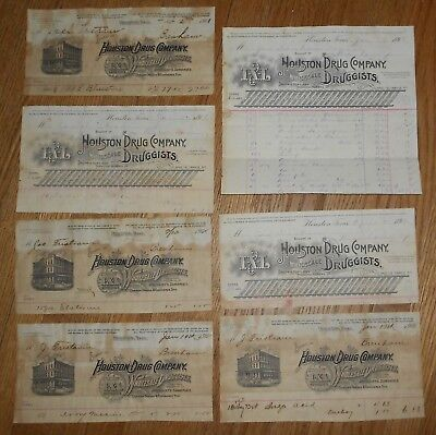 7 Antique Quack Medicine Billheads 1896 - 1901 Houston Drug Company Texas