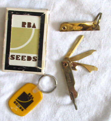 RBA Seed Advertising Misc Lot Cards Keychain 3 pocket knives AGRI Collectibles