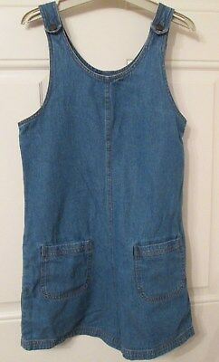 MARKS SPENCER GIRLS BLUE DENIM SHORTS PINAFORE ALL IN ONE 10-11yrs/152cm