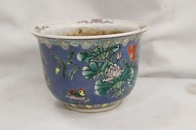 Vintage Chinese Porcelain Peking Ducks Lilly Pads Flowers Planter Wax Seal Mark