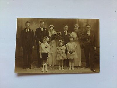 Old Social History Postcard Wedding Photo Portrait By L. Chettle Of Nuneaton