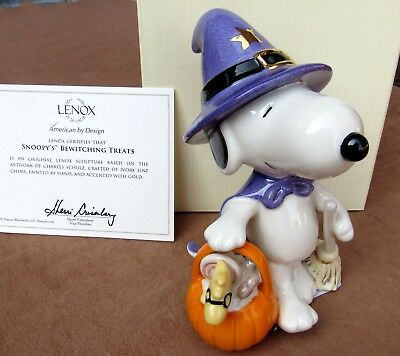 LENOX PEANUTS SNOOPY'S BEWITCHING TREATS FIGURE WITCH HAT, PUMPKIN HALLOWEEN New