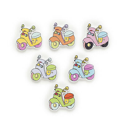50pcs Motorcycle Wood Buttons Sewing Scrapbooking Gift Clothing Decor 27mm