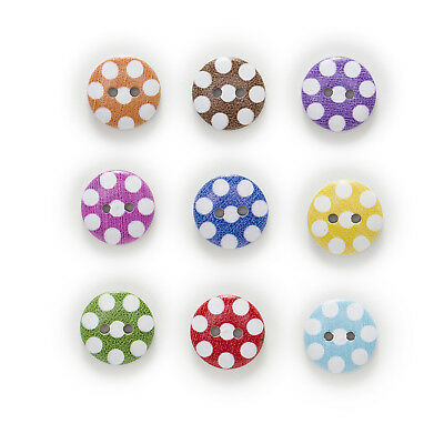 50pcs 2 Hole White Dot Round Wood Buttons Sewing Scrapbooking Home Decor 15mm