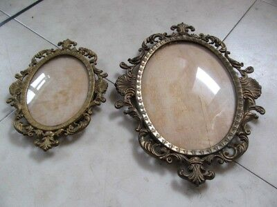 Two Lovely  Old Ornate Vintage Italian  Brass Photo Frame Convex Glass