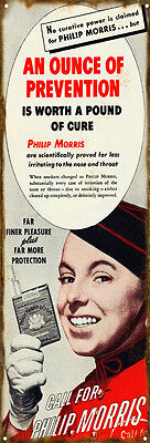 An Ounce Of Prevention Philip Morris Tobacco Cigarette Sign