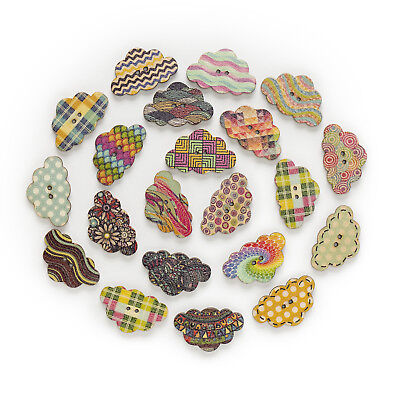 50pcs 2 Hole Mixed Clouds Wood Buttons Decor Crafts Sewing Scrapbooking 30x19mm
