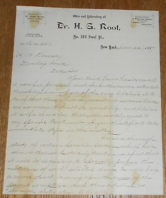1887 Antique Medical Letter Hand-Written by Dr H. G. Root