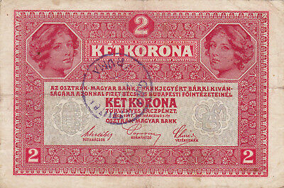 2 Korona/kronen Fine Note1919 With A  Stamp From Shs Kingdom!!!
