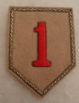 Wwii Bullion 1St Inf Div Eto Theater Made Var Famous D-Day Unit Oversize On Buff